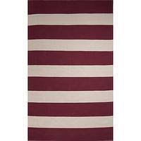 Flat-weave stripe red/white cotton area rug, 'Cranberry' - Flat-Weave Stripe Red/White Cotton Area Rug