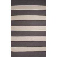 Flat-weave stripe gray/white cotton area rug, 'Stratosphere' - Flat-Weave Stripe Gray/White Cotton Area Rug