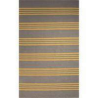 Flat-weave stripe gray/yellow cotton area rug, 'Lemon Stripes' - Flat-Weave Stripe Gray/Yellow Cotton Area Rug