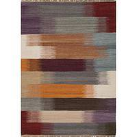Flat-weave stripe multi/red wool area rug, 'Paintbrush' - Flat-Weave Stripe Multi/Red Wool Area Rug