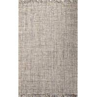Flat-weave solid gray wool area rug, 'Abram' - Flat-Weave Solid Gray Wool Area Rug