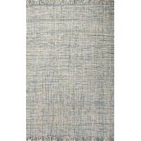Flat-weave solid blue/gray wool area rug, 'Bonnie' - Flat-Weave Solid Blue/Gray Wool Area Rug