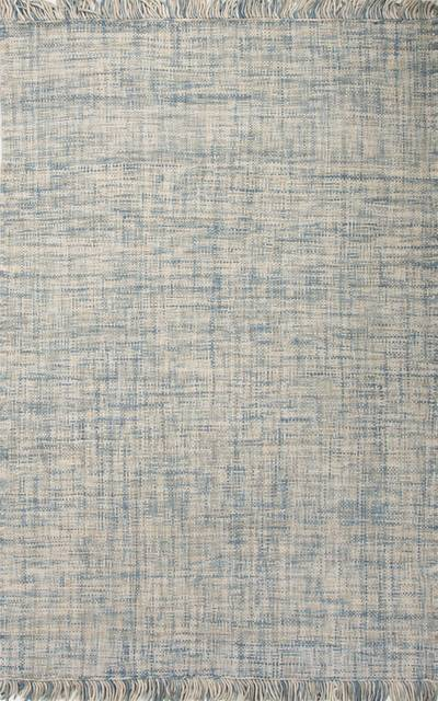 Flat Weave Solid Blue Gray Wool Area Rug Bonnie Novica