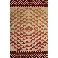 Modern tribal orange/red wool area rug, 'Volcano' - Modern Tribal Orange/Red Wool Area Rug