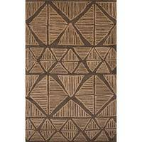 Modern tribal brown wool area rug, 'Dust Sketches' - Modern Tribal Brown Wool Area Rug