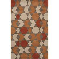 Modern geometric orange/brown wool area rug, 'Sunburst' - Modern Geometric Orange/Brown Wool Area Rug