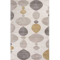 Modern geometric ivory/gray wool and art silk area rug, 'Stacked Stones' - Modern Geometric Ivory/Gray Wool and Art Silk Area Rug