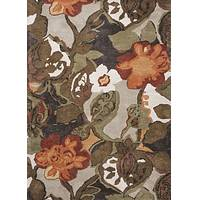 Modern floral brown/orange wool and art silk area rug, 'Garden in Fall' - Modern Floral Brown/Orange Wool and Art Silk Area Rug