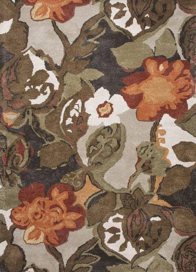 Modern floral brown/orange wool blend area rug, 'Garden in Fall' - Modern Floral Brown/Orange Wool Blend Area Rug