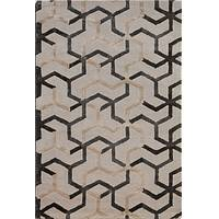 Modern geometric beige/gray wool blend area rug, 'Noir Overlap' - Modern Geometric Beige/Gray Wool Blend Area Rug