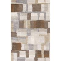 Modern geometric gray/brown wool and art silk area rug, 'Blockade' - Modern Geometric Gray/Brown Wool and Art Silk Area Rug