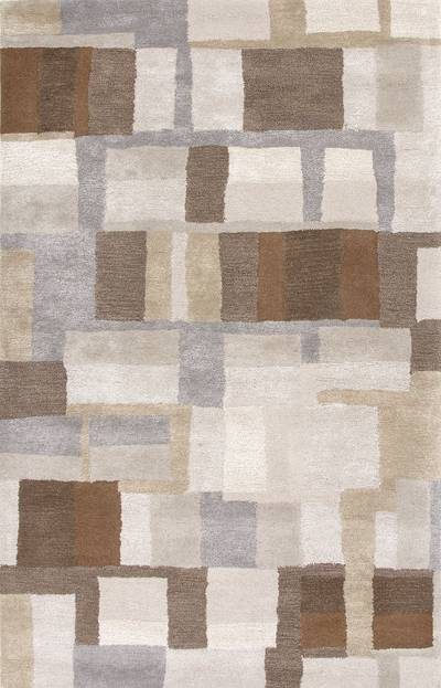 Modern Geometric Gray Brown Wool Blend Area Rug Blockade