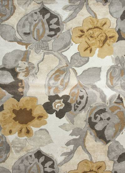 Modern floral ivory/yellow wool blend area rug, 'Garden in Neutral' - Modern Floral Ivory/Yellow Wool Blend Area Rug