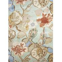 Modern floral blue/red wool blend area rug, 'Garden in Spring' - Modern Floral Blue/Red Wool Blend Area Rug
