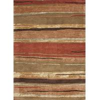 Modern abstract orange/brown wool blend area rug, 'Spiced Layers' - Modern Abstract Orange/Brown Wool Blend Area Rug