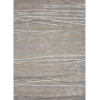 Modern abstract gray/ivory wool and art silk area rug, 'Entwine' - Modern Abstract Gray/Ivory Wool and Art Silk Area Rug