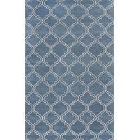 Modern geometric blue/ivory wool and art silk area rug, 'Cobalt Trellis' - Modern Geometric Blue/Ivory Wool and Art Silk Area Rug