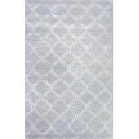Modern geometric blue/ivory wool blend area rug, 'Powder Trellis' - Modern Geometric Blue/Ivory Wool Blend Area Rug
