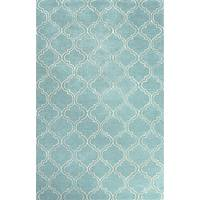 Modern geometric blue/ivory wool and art silk area rug, 'Turquoise Trellis' - Modern Geometric Blue/Ivory Wool and Art Silk Area Rug