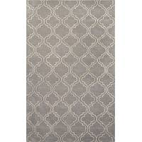 Modern geometric gray/ivory wool and art silk area rug, 'Smoke Trellis' - Modern Geometric Gray/Ivory Wool and Art Silk Area Rug