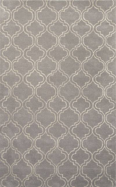Modern geometric gray/ivory wool blend area rug, Smoke Trellis