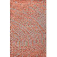 Modern tone-on-tone orange/gray wool blend area rug, 'Rust Whorl' - Modern Tone-on-tone Orange/Gray Wool Blend Area Rug