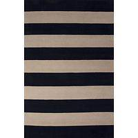Modern stripe blue/ivory wool area rug, 'Eclipse' - Modern Stripe Blue/Ivory Wool Area Rug