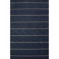 Modern stripe blue wool area rug, 'Midnight Swim' - Modern Stripe Blue Wool Area Rug
