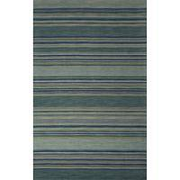 Modern stripe blue wool area rug, 'Seawall' - Modern Stripe Blue Wool Area Rug