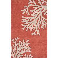 Modern coastal orange/ivory wool area rug, 'Coral Reef' - Modern Coastal Orange/Ivory Wool Area Rug