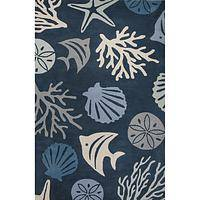 Modern coastal blue/ivory wool area rug, 'Underwater Dark' - Modern Coastal Blue/Ivory Wool Area Rug