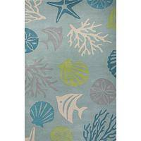 Modern coastal blue/green wool area rug, 'Underwater Light' - Modern Coastal Blue/Green Wool Area Rug