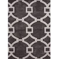Modern geometric gray/ivory wool blend area rug, 'Regal' - Modern Geometric Gray/Ivory Wool Blend Area Rug