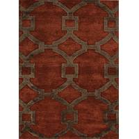 Modern geometric red/brown wool and art silk area rug, 'Regal' - Modern Geometric Red/Brown Wool and Art Silk Area Rug