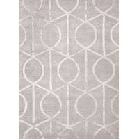 Modern geometric taupe/ivory wool and art silk area rug, 'Socialite in Haze' - Modern Geometric Taupe/Ivory Wool and Art Silk Area Rug