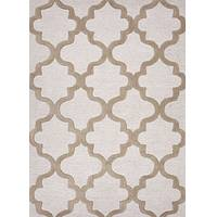 Modern geometric ivory/taupe wool area rug, 'Vogue in Tan' - Modern Geometric Ivory/Taupe Wool Area Rug