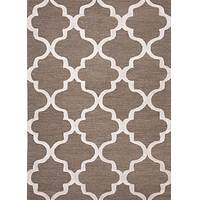 Modern geometric brown/ivory wool area rug, 'Vogue in Walnut' - Modern Geometric Brown/Ivory Wool Area Rug