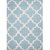Modern geometric blue/ivory wool area rug, 'Vogue in Sky Blue' - Modern Geometric Blue/Ivory Wool Area Rug