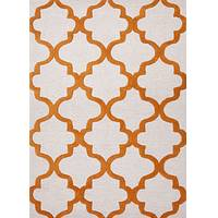 Modern geometric ivory/orange wool area rug, 'Vogue in Ginger' - Modern Geometric Ivory/Orange Wool Area Rug