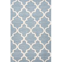 Modern geometric blue/ivory wool area rug, 'Vogue in Cornflower Blue' - Modern Geometric Blue/Ivory Wool Area Rug