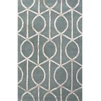 Modern geometric blue/gray wool and art silk area rug, 'Socialite in Slate Blue' - Modern Geometric Blue/Gray Wool and Art Silk Area Rug
