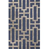 Modern geometric blue/taupe wool and art silk area rug, 'Urbanite' - Modern Geometric Blue/Taupe Wool and Art Silk Area Rug