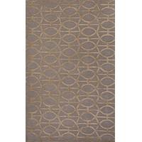 Modern geometric gray/taupe wool and art silk area rug, 'Empire in Almond' - Modern Geometric Gray/Taupe Wool and Art Silk Area Rug
