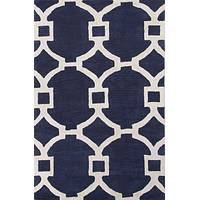 Modern geometric blue/ivory wool and art silk area rug, 'Regal' - Modern Geometric Blue/Ivory Wool and Art Silk Area Rug