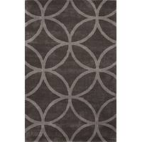Modern geometric gray wool and art silk area rug, 'Upstate' - Modern Geometric Gray Wool and Art Silk Area Rug