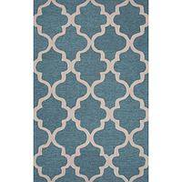 Modern geometric blue/ivory wool area rug, 'Vogue in Sapphire' - Modern Geometric Blue/Ivory Wool Area Rug