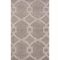 Modern geometric gray/ivory wool and art silk area rug, 'Regal' - Modern Geometric Gray/Ivory Wool and Art Silk Area Rug