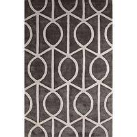 Modern geometric gray/white wool and art silk area rug, 'Socialite in Pewter' - Modern Geometric Gray/White Wool and Art Silk Area Rug