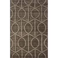 Modern geometric taupe/brown wool and art silk area rug, 'Socialite in Umber' - Modern Geometric Taupe/Brown Wool and Art Silk Area Rug