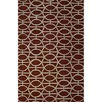 Modern geometric red wool blend area rug, 'Empire in Rouge' - Modern Geometric Red Wool Blend Area Rug